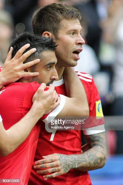 Alexander Samedov and Fedor Smolov of Russia celebrate after scoring a goal during the FIFA Confederations Cup 2017 group A soccer match between...