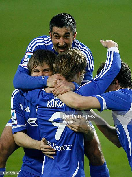 Alexander Samedov of FC Dynamo Moscow celebrates after scoring a goal during the Russian Football League Championship match between FC Dynamo and FC...