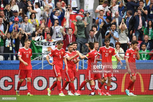 Alexander Samedov of Russia celebrates scoring his sides first goal with his Russia team mates during the FIFA Confederations Cup Russia 2017 Group A...
