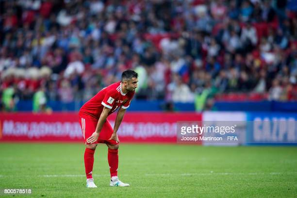 Alexander Samedov of Russia looks dejected during the FIFA Confederations Cup Russia 2017 group A football match between Mexico and Russia at Kazan...