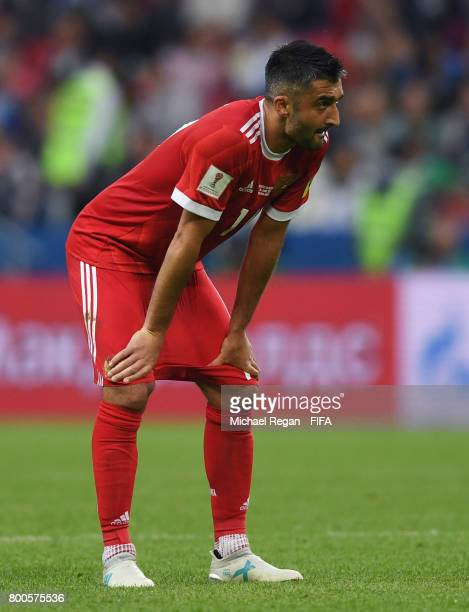 Alexander Samedov of Russia reacts during the FIFA Confederations Cup Russia 2017 Group A match between Mexico and Russia at Kazan Arena on June 24...