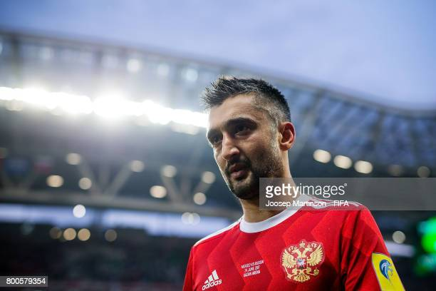 Alexander Samedov of Russia walks off the pitch after the FIFA Confederations Cup Russia 2017 group A football match between Mexico and Russia at...