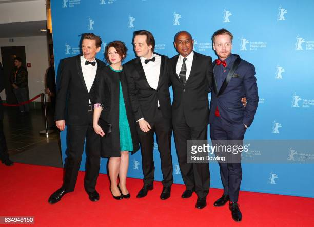 Alexander Scheer Hannah Steele August DiehlRaoul Peck and Stefan Konarske attend the 'The Young Karl Marx' premiere during the 67th Berlinale...