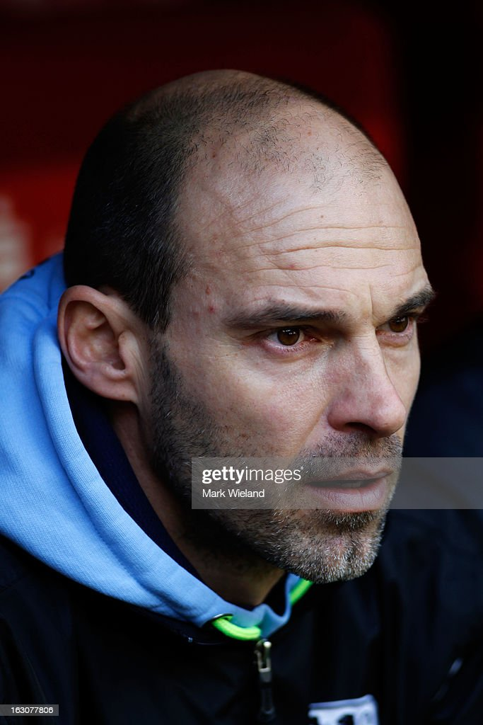 Alexander Schimdt, head coach of 1860 Muenchen looks on prior to the start of the Second Bundesliga League match between 1860 Muenchen and FC Ingostadt at Allianz Arena on March 3, 2013 in Munich, Germany.