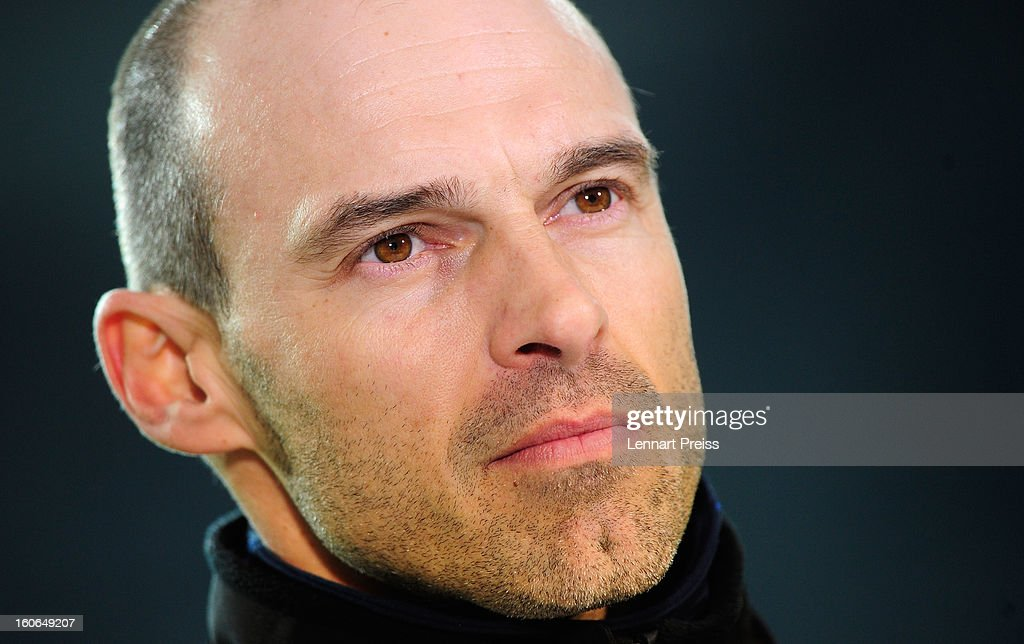 Alexander Schmidt, head coach of Muenchen looks on before the Second Bundesliga match between TSV 1860 Muenchen and 1. FC Kaiserslautern at Allianz Arena on February 4, 2013 in Munich, Germany.