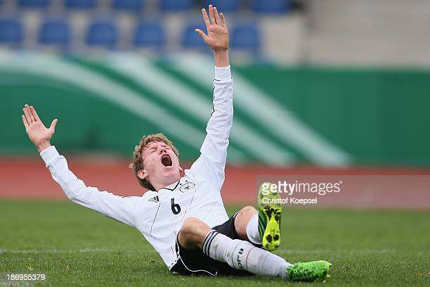 Alexander Schulte of Germany celebrates the first goal during the U15 international friendly match between Germany and South Korea at Jahnstadion on...
