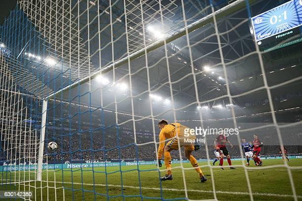 Alexander Schwolow goalkeeper of Freiburg tries to save the equalizing goal of Yevhen Konoplyanka of Schalke to make it 11 during the Bundesliga...