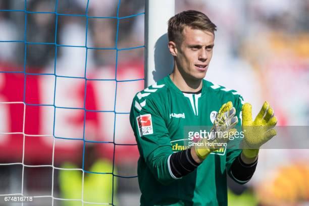 Alexander Schwolow of Freiburg gestures during the Bundesliga match between SV Darmstadt 98 and SC Freiburg at Stadion am Boellenfalltor on April 29...