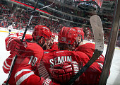 Alexander Semin of the Carolina Hurricanes celebrates his goal against the Washington Capitals with teammates Jiri Tlusty JohnMichael Liles and Jay...