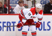 Alexander Semin of the Carolina Hurricanes during the NHL game against the Phoenix Coyotes at Jobingcom Arena on December 14 2013 in Glendale Arizona...
