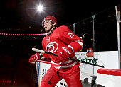 Alexander Semin of the Carolina Hurricanes enter the ice during introductions prior their NHL game against the Florida Panthers at PNC Arena on...
