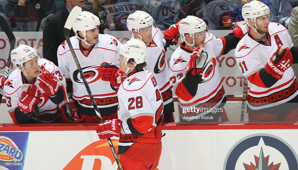 <a gi-track='captionPersonalityLinkClicked' href=/galleries/search?phrase=Alexander+Semin&family=editorial&specificpeople=206654 ng-click='$event.stopPropagation()'>Alexander Semin</a> #28 of the Carolina Hurricanes gets congratulated at the bench by teammates after scoring a first period goal against the Winnipeg Jets at the MTS Centre on March 30, 2013 in Winnipeg, Manitoba, Canada.
