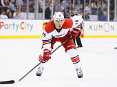 Alexander Semin of the Carolina Hurricanes in action against the New York Rangers during their game at Madison Square Garden on October 16 2014 in...