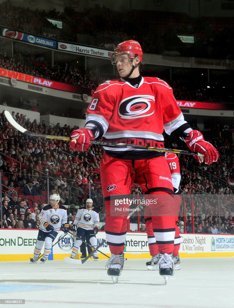 Alexander Semin #28 of the Carolina Hurricanes keeps his eye on the play during an NHL game against the Buffalo Sabres on March 5, 2013 at PNC Arena in Raleigh, North Carolina.