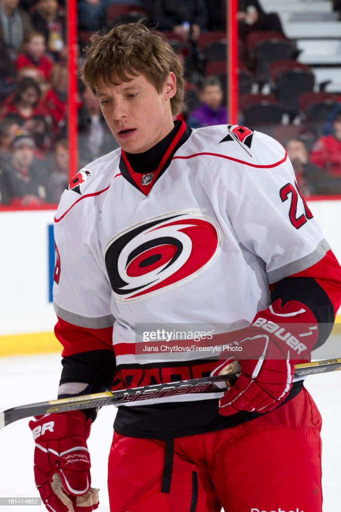 Alexander Semin #28 of the Carolina Hurricanes leaves the ice during warmups prior to an NHL game against the Ottawa Senators at Scotiabank Place on February 7, 2013 in Ottawa, Ontario, Canada.