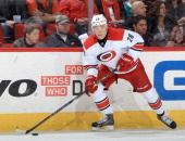 Alexander Semin of the Carolina Hurricanes looks to pass the puck during their NHL game against the Columbus Blue Jackets at PNC Arena on March 29...