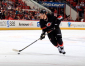 Alexander Semin of the Carolina Hurricanes looks to shoot the puck during their NHL game against the Edmonotn Oilers at PNC Arena on March 16 2014 in...