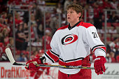 Alexander Semin of the Carolina Hurricanes looks up ice in warm ups prior to a NHL game against the Detroit Red Wings on April 7 2015 at Joe Louis...