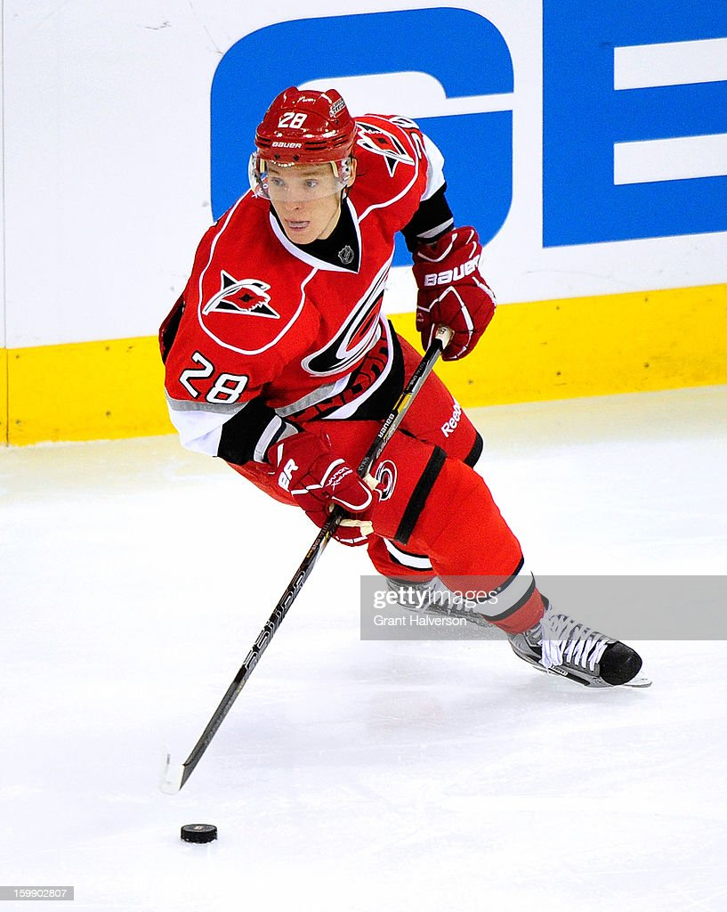 Alexander Semin #28 of the Carolina Hurricanes moves the puck against the Tampa Bay Lightning during play at PNC Arena on January 22, 2013 in Raleigh, North Carolina. Tampa Bay won 4-1.