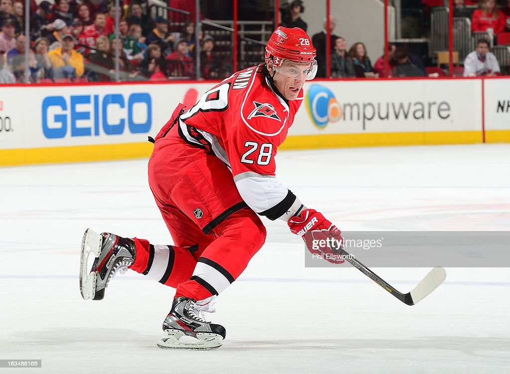Alexander Semin #28 of the Carolina Hurricanes passes off the puck during an NHL game against the Buffalo Sabres on March 5, 2013 at PNC Arena in Raleigh, North Carolina.
