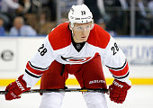 Alexander Semin of the Carolina Hurricanes plays in the game against New York Rangers at Madison Square Garden on October 16 2014 in New York New York