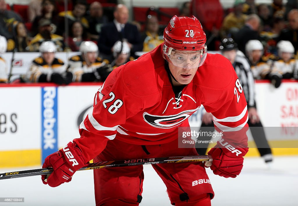 Alexander Semin of the Carolina Hurricanes prepares for a face off against the Boston Bruins during their NHL game at PNC Arena on March 29 2015 in...