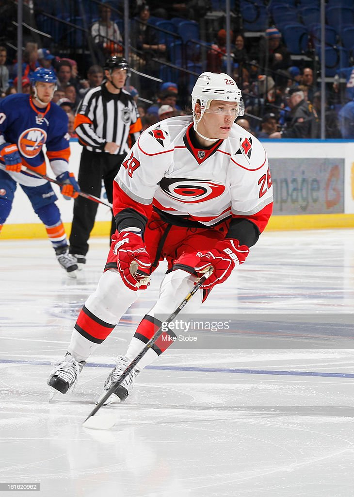Alexander Semin #28 of the Carolina Hurricanes skates against the New York Islanders at Nassau Veterans Memorial Coliseum on February 11, 2013 in Uniondale, New York. The Hurricanes defeated the Islanders 6-4.