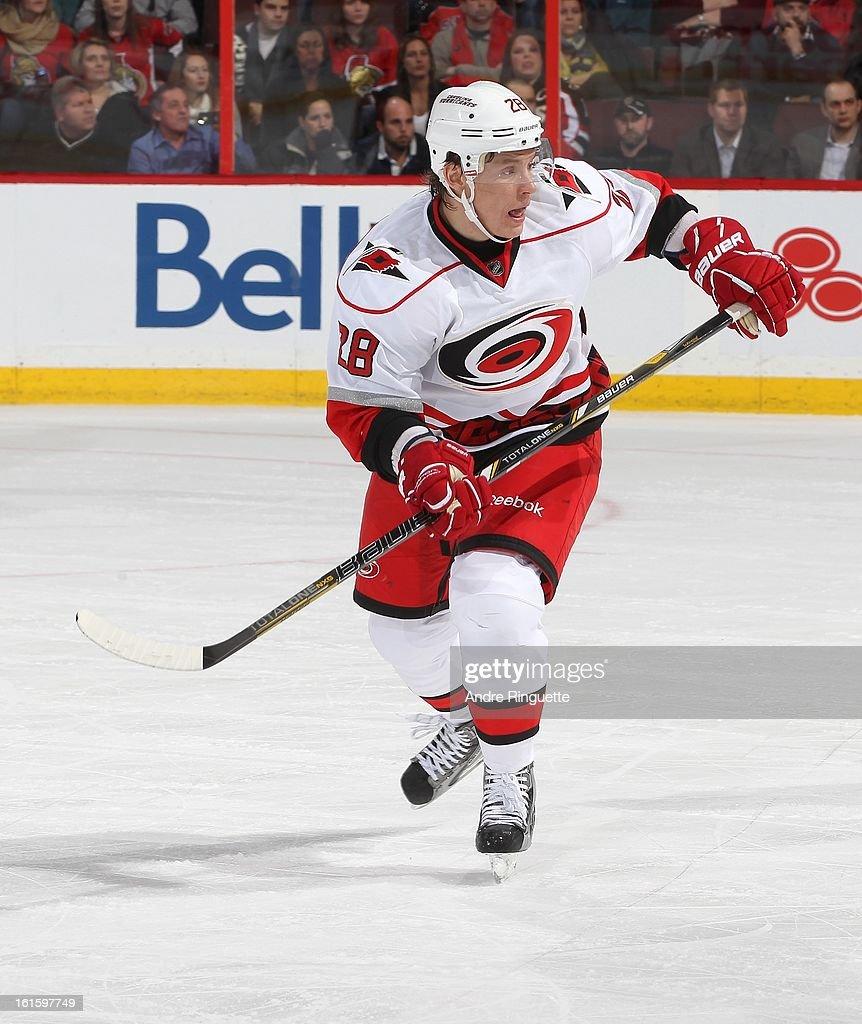Alexander Semin #28 of the Carolina Hurricanes skates against the Ottawa Senators on February 7, 2013 at Scotiabank Place in Ottawa, Ontario, Canada.