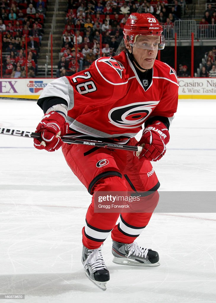 Alexander Semin #28 of the Carolina Hurricanes skates for position on the ice against the Boston Bruins during their NHL game on January 28, 2013 at PNC Arena in Raleigh North Carolina.