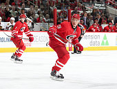 Alexander Semin of the Carolina Hurricanes skates for position on the ice during their NHL game against the Chicago Blackhawks at PNC Arena on March...
