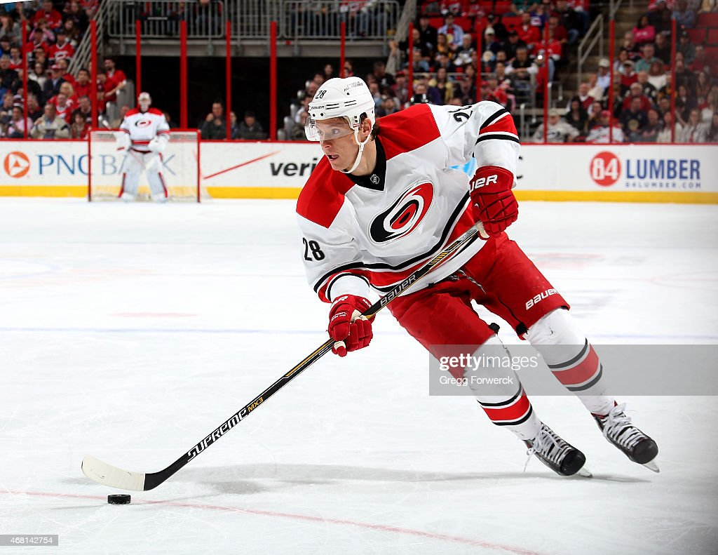 Alexander Semin of the Carolina Hurricanes skates with the puck during their NHL game against the Pittsburgh Penguins at PNC Arena on March 26 2015...