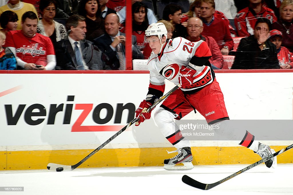 <a gi-track='captionPersonalityLinkClicked' href=/galleries/search?phrase=Alexander+Semin&family=editorial&specificpeople=206654 ng-click='$event.stopPropagation()'>Alexander Semin</a> #28 of the Carolina Hurricanes skates with the puck during the third period of an NHL game against the Washington Capitals at Verizon Center on February 26, 2013 in Washington, DC.