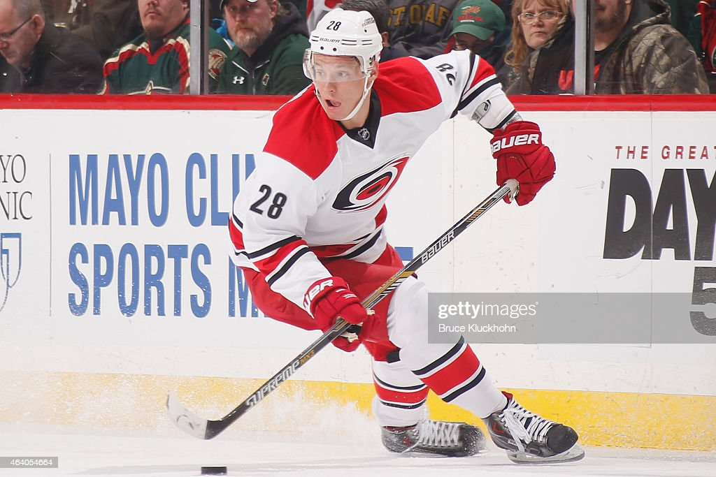 Alexander Semin of the Carolina Hurricanes skates with the puck against the Minnesota Wild during the game on February 14 2015 at the Xcel Energy...