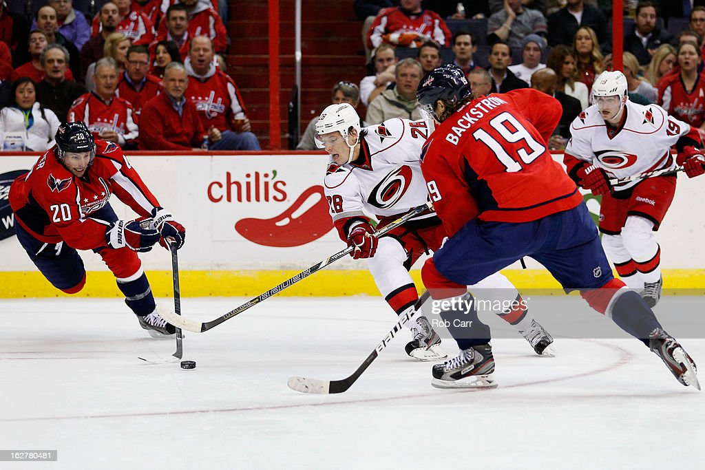 <a gi-track='captionPersonalityLinkClicked' href=/galleries/search?phrase=Alexander+Semin&family=editorial&specificpeople=206654 ng-click='$event.stopPropagation()'>Alexander Semin</a> #28 of the Carolina Hurricanes skates with the puck against <a gi-track='captionPersonalityLinkClicked' href=/galleries/search?phrase=Troy+Brouwer&family=editorial&specificpeople=4155305 ng-click='$event.stopPropagation()'>Troy Brouwer</a> #20 and Nicklas Backstrom #19 of the Washington Capitals during the second period at Verizon Center on February 26, 2013 in Washington, DC.