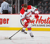 Alexander Semin of the Carolina Hurricanes takes a shot during pregame warmups prior to the game against the New Jersey Devils at the Prudential...