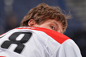Alexander Semin of the Carolina Hurricanes warms up before a game against the Columbus Blue Jackets on November 4 2014 at Nationwide Arena in...