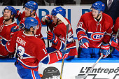 Alexander Semin of the Montreal Canadiens celebrates his goal with teammates on the bench during an NHL preseason game against the Pittsburgh...
