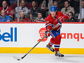 Alexander Semin of the Montreal Canadiens passes the puck during the NHL game against the St Louis Blues at the Bell Centre on October 20 2015 in...