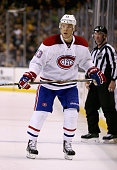 Alexander Semin of the Montreal Canadiens plays in the game against the Boston Bruins at TD Garden on October 10 2015 in Boston Massachusetts