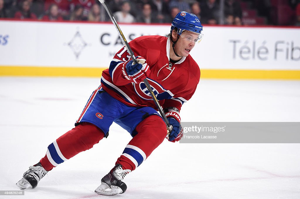 Alexander Semin of the Montreal Canadiens skates against the StLouis Blues in the NHL game at the Bell Centre on October 20 2015 in Montreal Quebec...