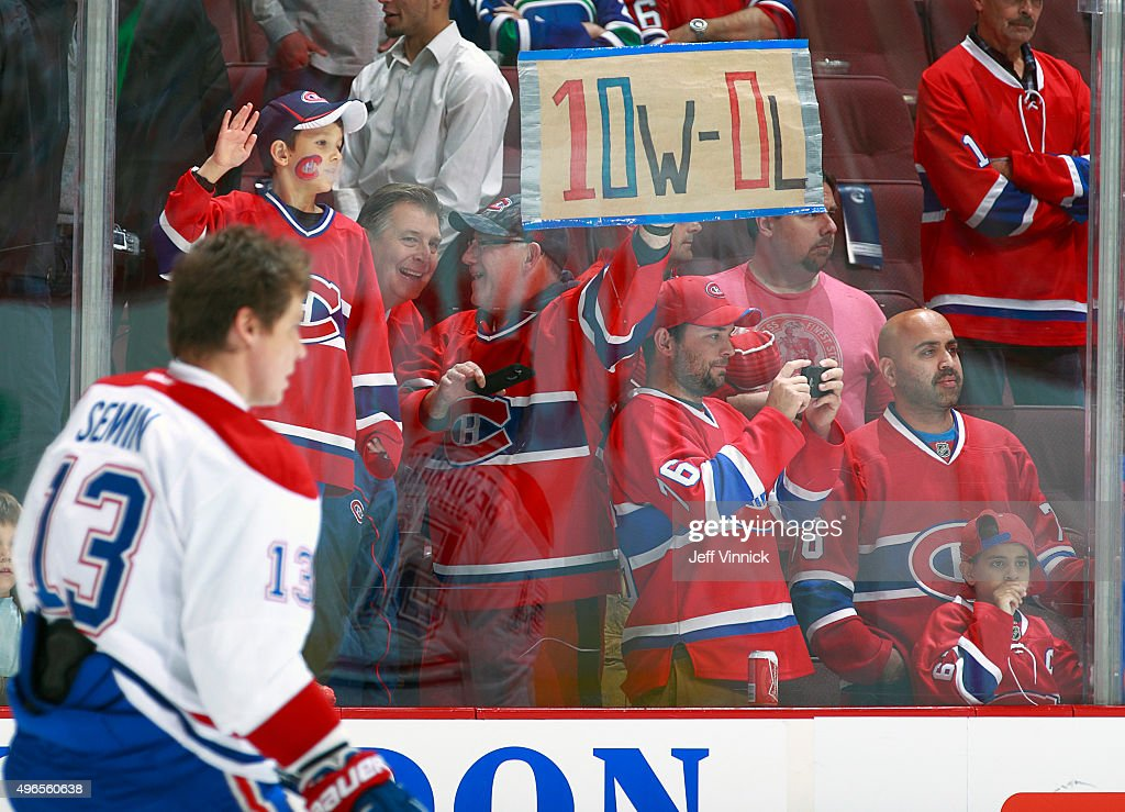 Alexander Semin of the Montreal Canadiens skates by Montreal fans during their NHL game against the Vancouver Canucks at Rogers Arena October 27 2015...