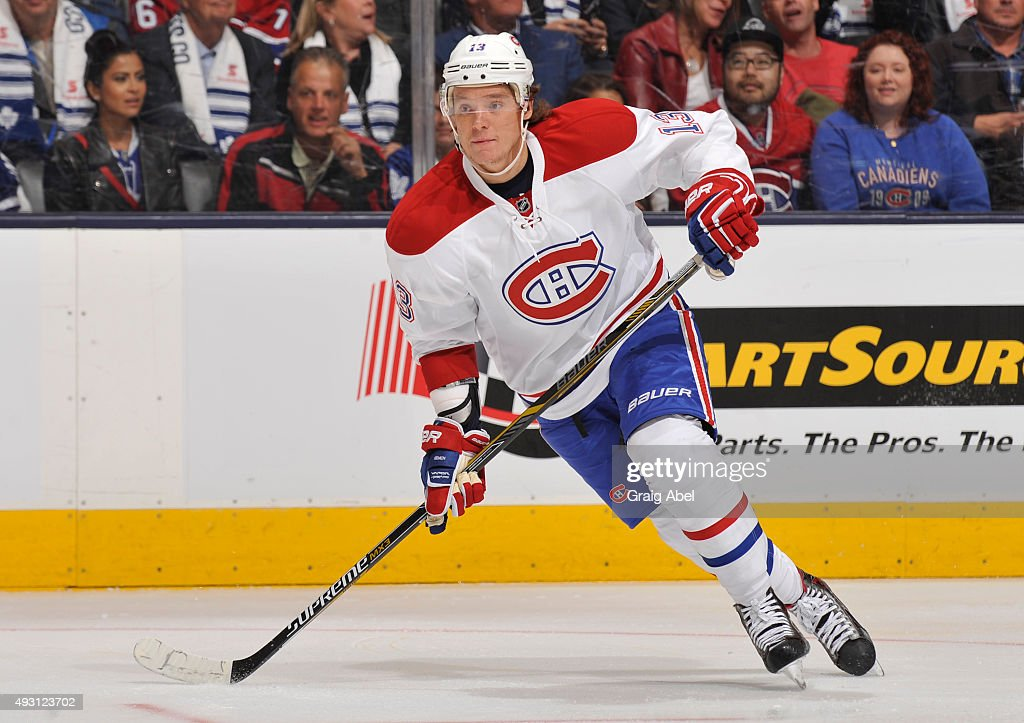 Alexander Semin of the Montreal Canadiens skates during NHL game action against the Toronto Maple Leafs October 7 2015 at Air Canada Centre in...