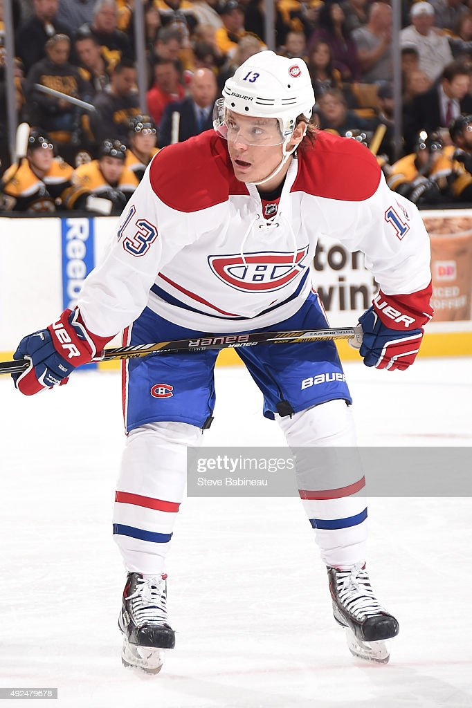 Alexander Semin of the Montreal Canadiens waits for a face off against the Boston Bruins at the TD Garden on October 10 2015 in Boston Massachusetts