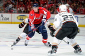 Alexander Semin of the Washington Capitals brings the puck down the ice against the Anaheim Ducks at the Verizon Center on November 1 2011 in...