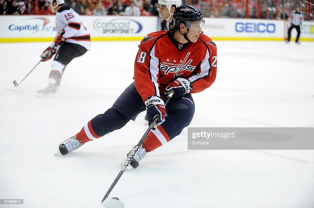 Alexander Semin of the Washington Capitals handles the puck against the New Jersey Devils at the Verizon Center on October 12 2009 in Washington DC