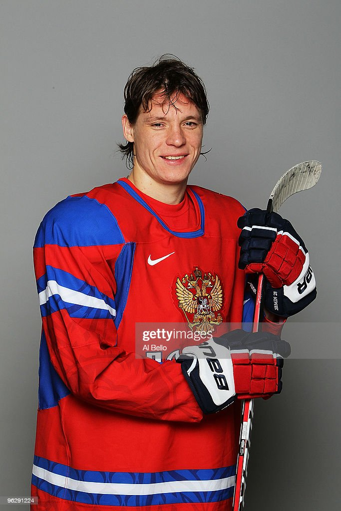 Alexander Semin of the Washington Capitals poses with his Team Russia Olympic Jersey on January 30 2010 in Arlington Virginia