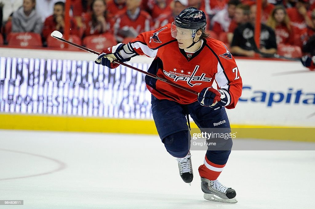 Alexander Semin of the Washington Capitals skates down the ice against the Boston Bruins at the Verizon Center on April 11 2010 in Washington DC