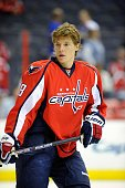 Alexander Semin of the Washington Capitals warms up before the game against the New York Rangers at the Verizon Center on October 8 2009 in...