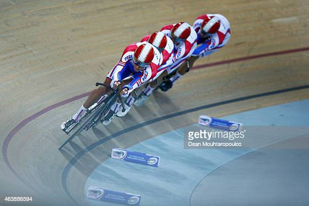 Alexander Serov Alexey Kurbatov Alexander Evtushenko and Artur Ershov of Cycling Team Russia compete in the Mens Team Pursuit first round race during...