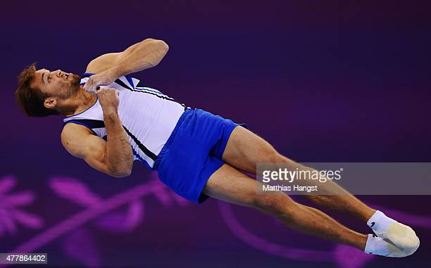 Alexander Shatilov of Israel competes in the Men's Floor Exercise final on day eight of the Baku 2015 European Games at the National Gymnastics Arena...